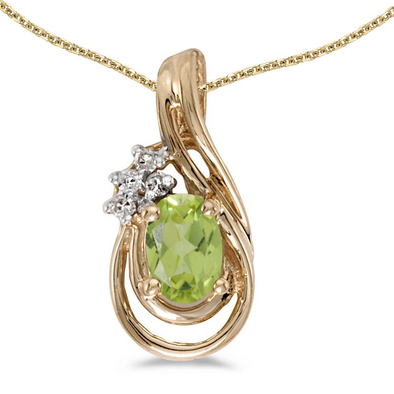 Color Merchants 14k Yellow Gold Oval Peridot And Diamond Teardrop Pendant