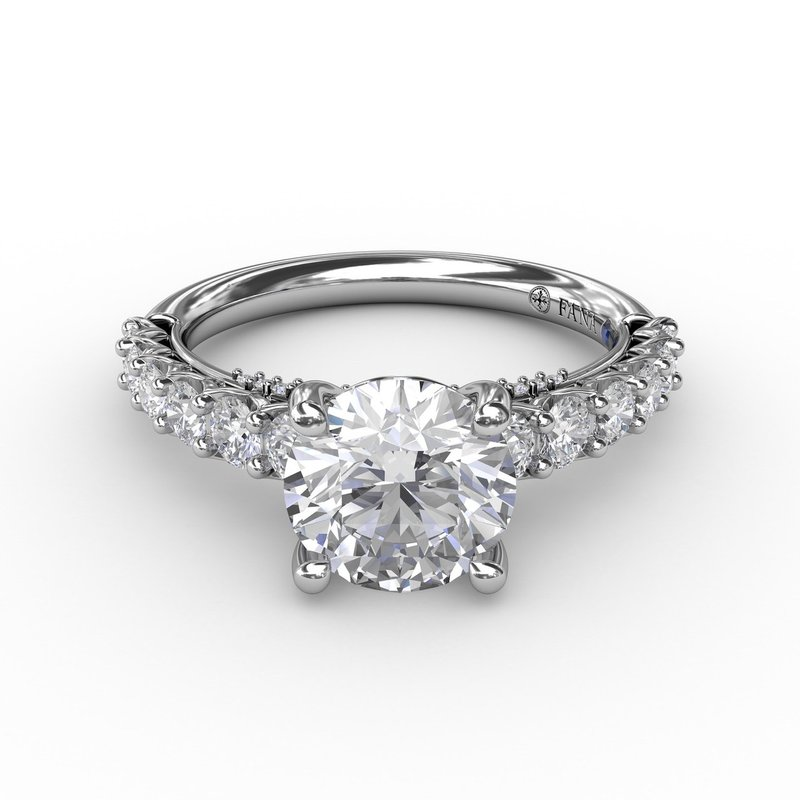 Fana Contemporary Diamond Solitaire Engagement Ring With Openwork Diamond Band