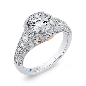 18K Two-Tone Gold Round Cut Diamond Halo Engagement Ring (Semi-Mount)