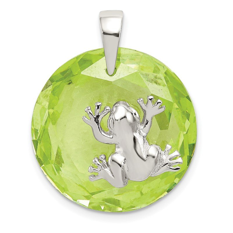 Quality Gold Sterling Silver Rhodium-plated Green CZ Frog Pendant
