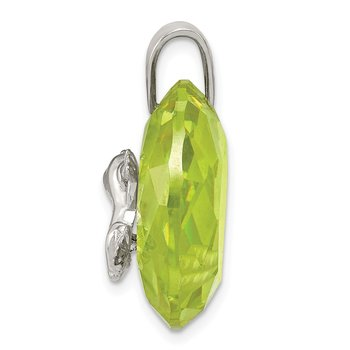 Sterling Silver Rhodium-plated Green CZ Frog Pendant