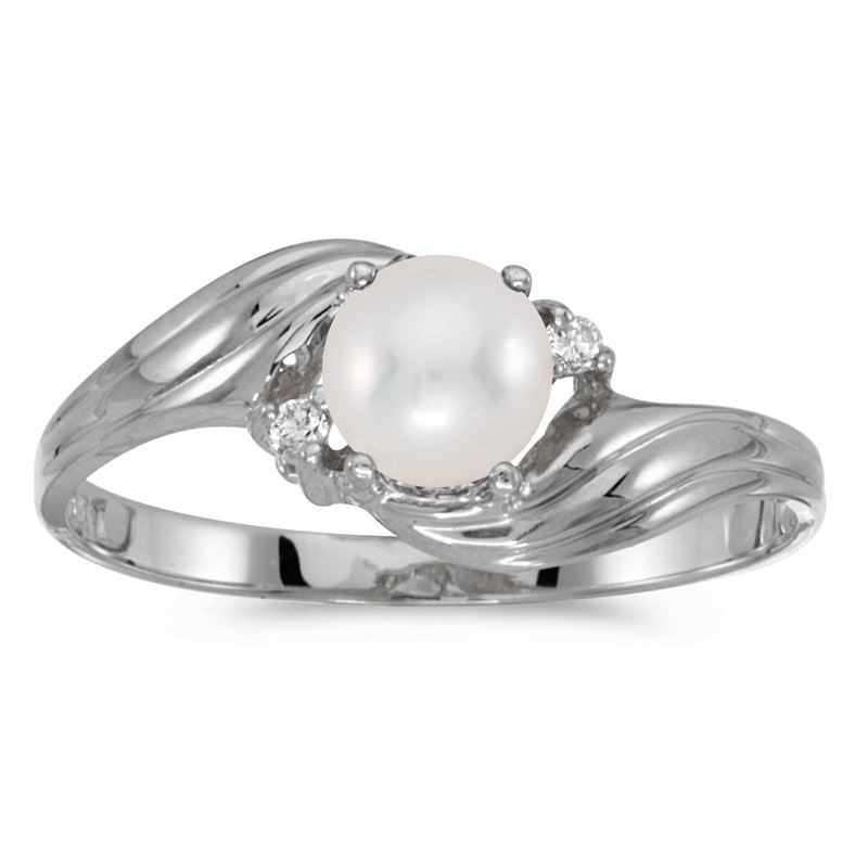 Color Merchants 10k White Gold Pearl And Diamond Ring
