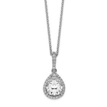 Cheryl M Sterling Silver Rhodium Plated CZ Teardrop 18in Necklace