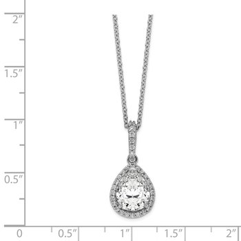 Cheryl M Sterling Silver CZ Teardrop 18in. Necklace