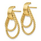 Fine Jewelry by JBD 14k Polished and Textured Fancy Post Earrings