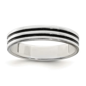 Sterling Silver Polished Black Enamel Women's Ring