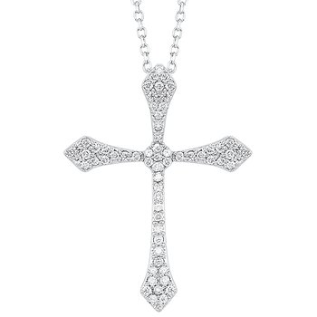Diamond Celtic Cross Pendant Necklace in 14k White Gold (1/20 ctw)