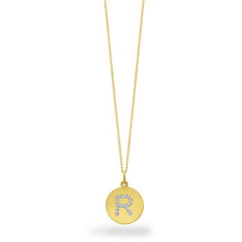 "Diamond Disc Initial ""R"" Necklace in 14k Yellow Gold with 18 Diamonds weighing .10ct tw."
