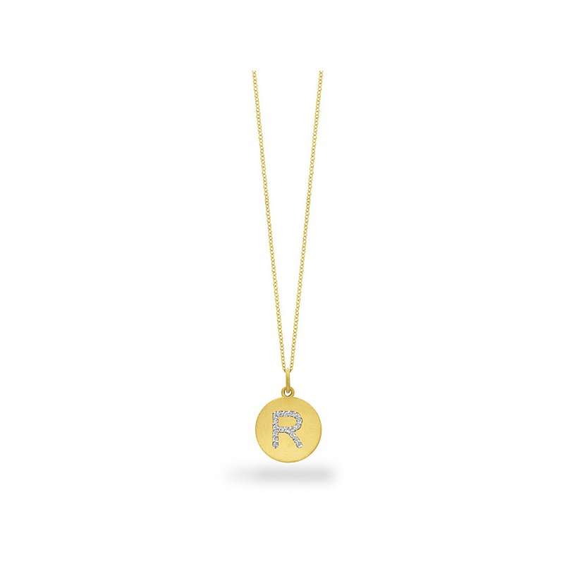 "KC Designs Diamond Disc Initial ""R"" Necklace in 14k Yellow Gold with 18 Diamonds weighing .10ct tw."