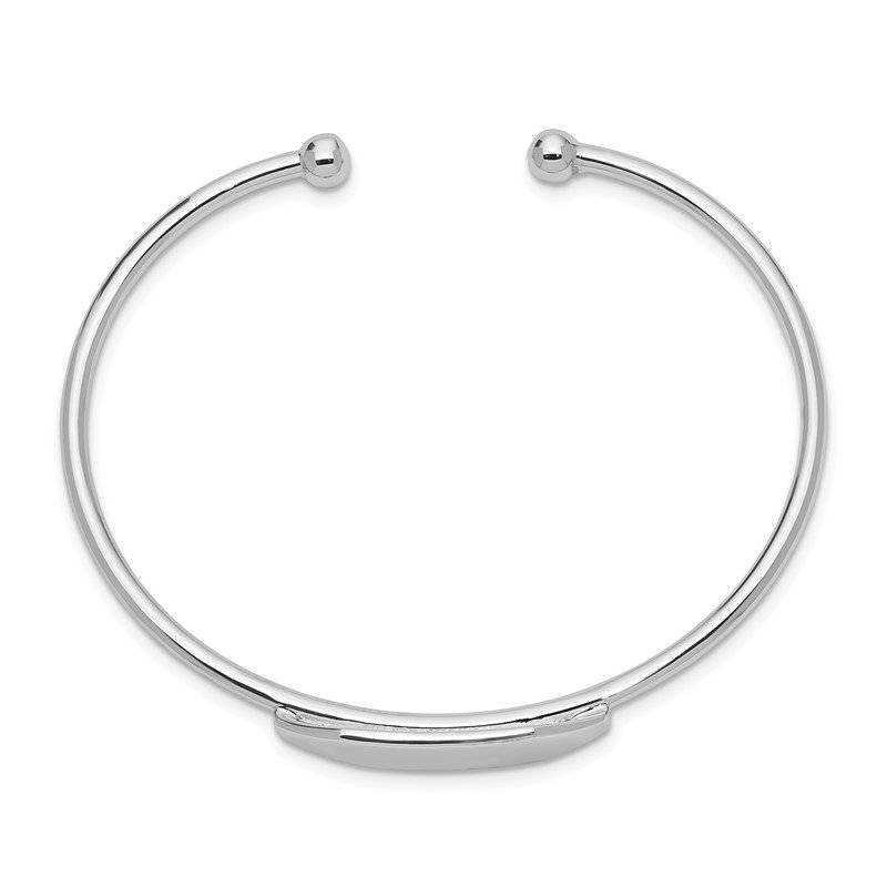 Quality Gold Sterling Silver Rhod. Plated Polished ID Cuff Child's Bangle