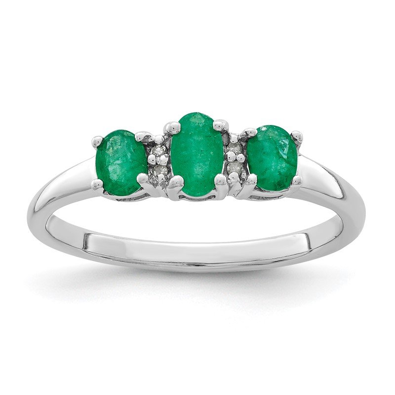 Quality Gold Sterling Silver Rhodium-plated Emerald & Diamond Ring