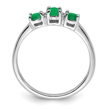 Sterling Silver Rhodium-plated Emerald & Diamond Ring