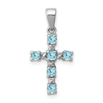 Sterling Silver Rhodium Lt Sw Blue Topaz Cross & Diamond Accent Pendant