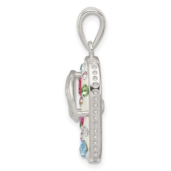 Sterling Silver Multi-Color Stellux Crystal Flip-flop Pendant