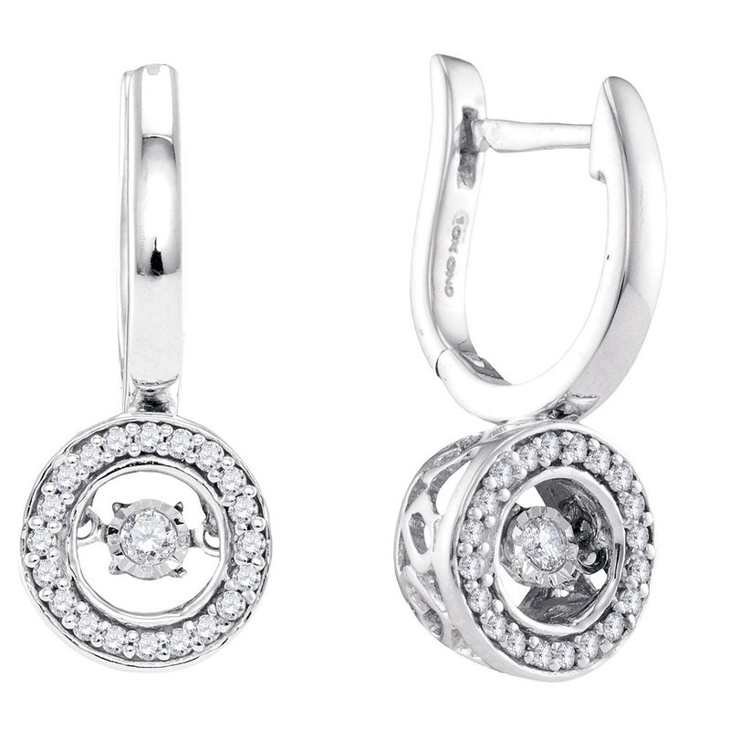 Gold-N-Diamonds, Inc. (Atlanta) 10kt White Gold Womens Round Diamond Moving Twinkle Dangle Earrings 1/3 Cttw