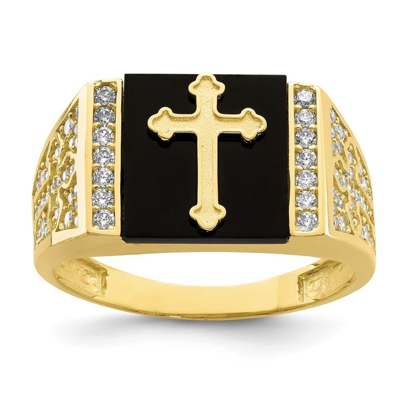 Quality Gold 10K CZ and Onyx Cross Men'S Ring