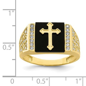 10K CZ and Onyx Cross Men'S Ring
