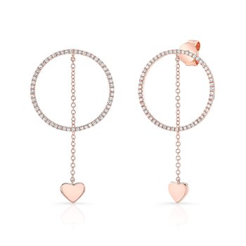 Rose Gold Hanging Heart Circle Earrings