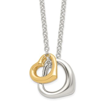 Sterling Silver Polished Vermeil Heart w/ 2in ext. Necklace