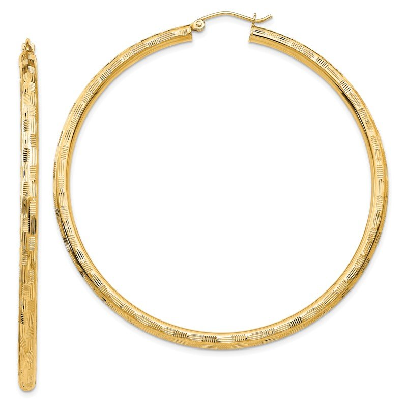 Arizona Diamond Center Collection 14k Textured Hoop Earrings