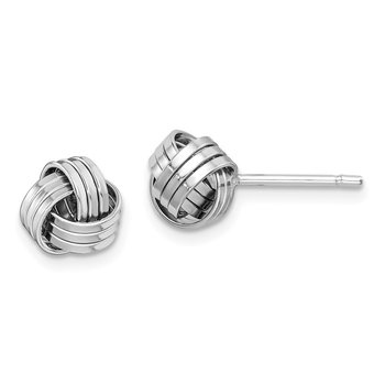 Sterling Silver Rhodium-plated Love Knot Post Earrings