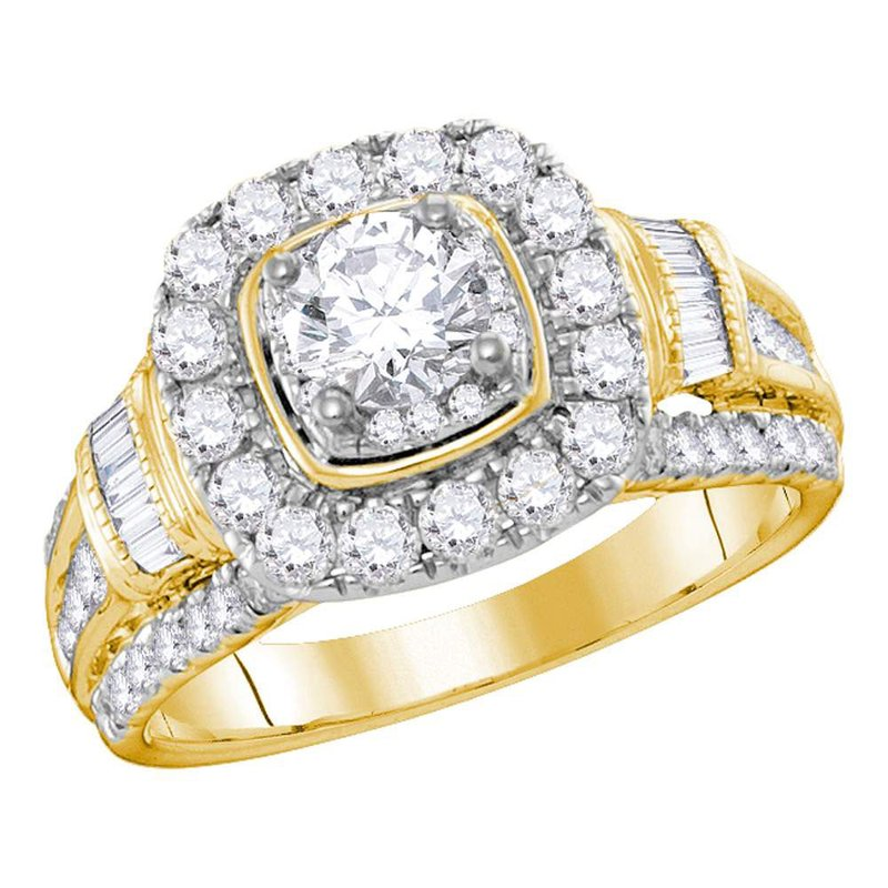 Kingdom Treasures 14kt Yellow Gold Womens Round Diamond Solitaire Bridal Wedding Engagement Ring 2.00 Cttw