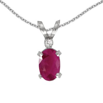 14k White Gold Oval Ruby And Diamond Filagree Pendant