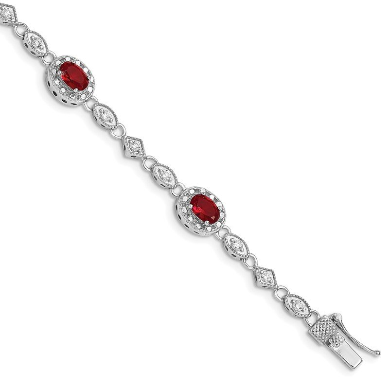 Quality Gold Sterling Silver Rhodium Plated 7inch Red and Clear CZ Bracelet