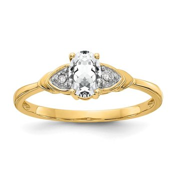 14k White Topaz and Diamond Ring
