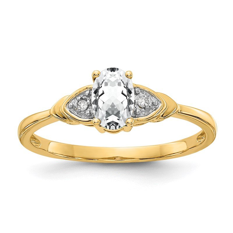 Quality Gold 14k White Topaz and Diamond Ring