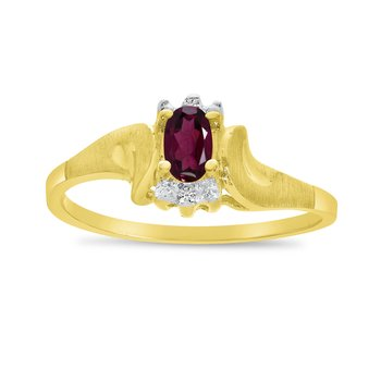 10k Yellow Gold Oval Rhodolite Garnet And Diamond Satin Finish Ring