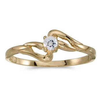 14k Yellow Gold Round White Topaz Ring