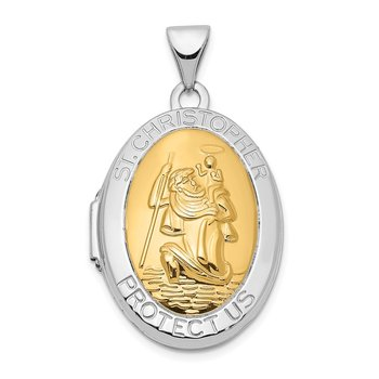14K White Gold with Yellow Gold accent 23mm Saint Christopher Locket Pendan