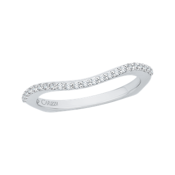 18K White Gold Diamond Half Eternity Euro shank Wedding Band