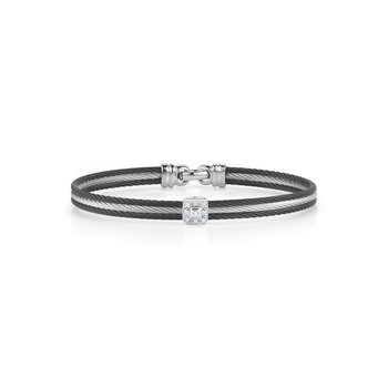 Black & Grey Cable Classic Stackable Bracelet with Single Square Station set in 18kt White Gold