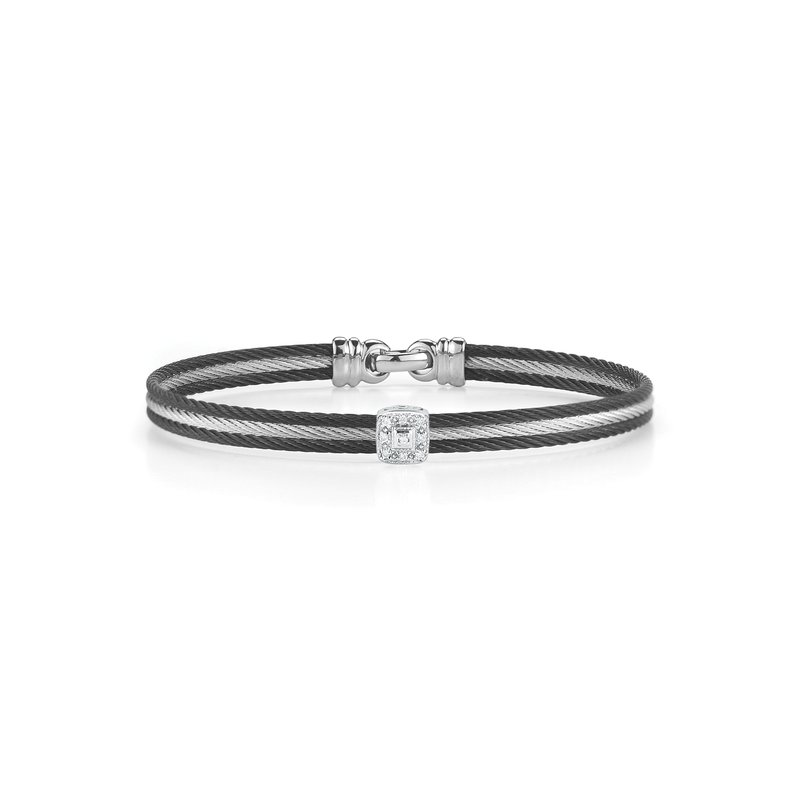 ALOR Catalog Black & Grey Cable Classic Stackable Bracelet with Single Square Station set in 18kt White Gold