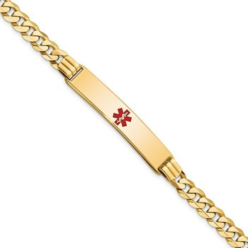 14K Medical Red Enamel Curb Link ID Bracelet