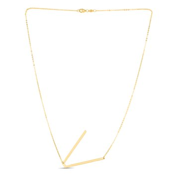 14K Gold Large Initial V Necklace