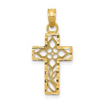14k Diamond-cut Filigree Cross Pendant