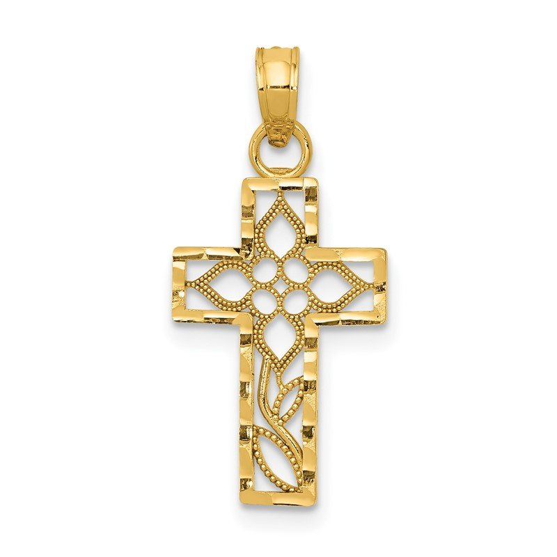 Quality Gold 14k Diamond-cut Filigree Cross Pendant
