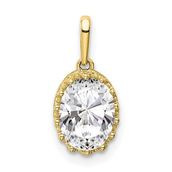 10k Tiara Collection Polished Oval CZ Pendant