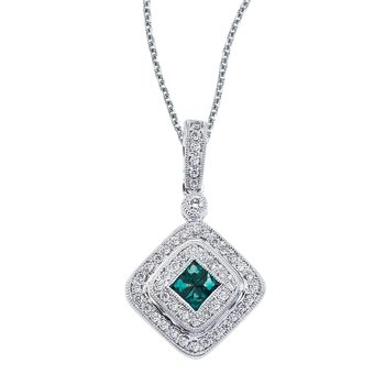 14k White Gold Oval Emerald and .17 ct Diamond Square Pendant