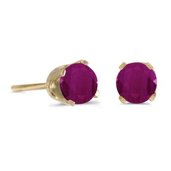 14k Yellow Gold 4mm Round Ruby Stud Earrings