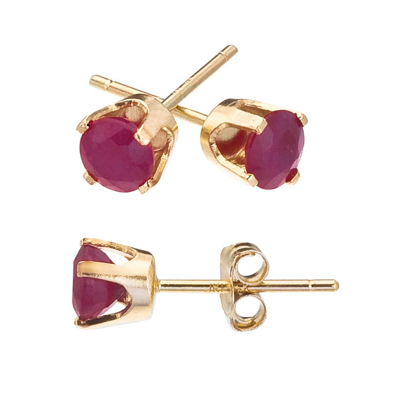 Color Merchants 14k Yellow Gold 4mm Round Ruby Stud Earrings