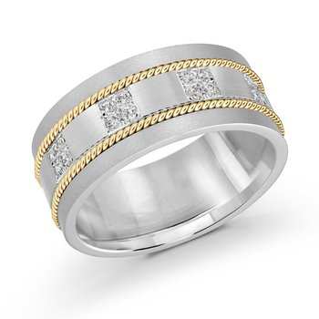 10mm two-tone white and yellow gold brick motif band, embelished with 16X0.015CT diamonds