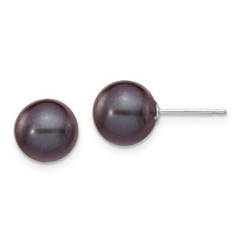 14k White Gold 8-9mm Black Round FW Cultured Pearl Stud Post Earrings