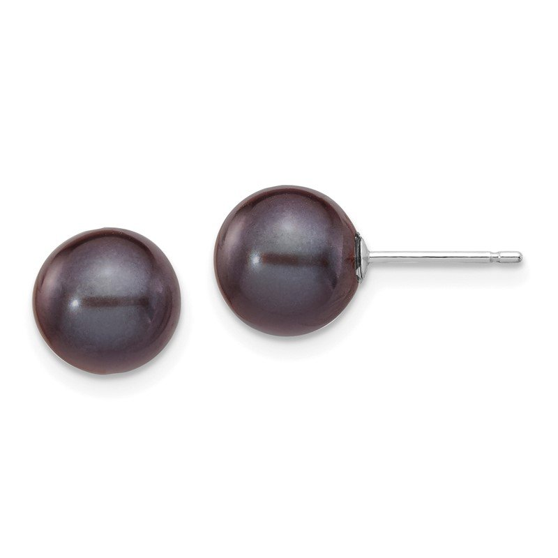 Quality Gold 14k White Gold 8-9mm Black Round FW Cultured Pearl Stud Post Earrings