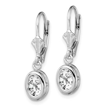 Sterling Silver Rhodium 7x5mm Oval CZ Leverback Earrings