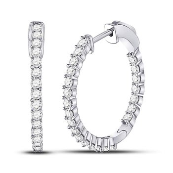 10kt White Gold Womens Round Diamond Single Row Hoop Earrings 1-1/2 Cttw