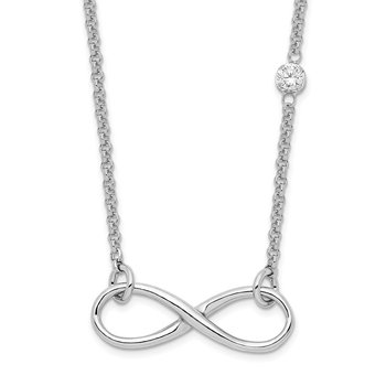Sterling Silver Rhodium-plated CZ Infinity Knot Necklace